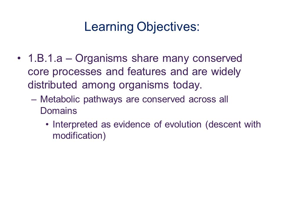 Learning Objectives: 1.B.1.a – Organisms share many conserved core processes and features and are widely distributed among organisms today. –Metabolic