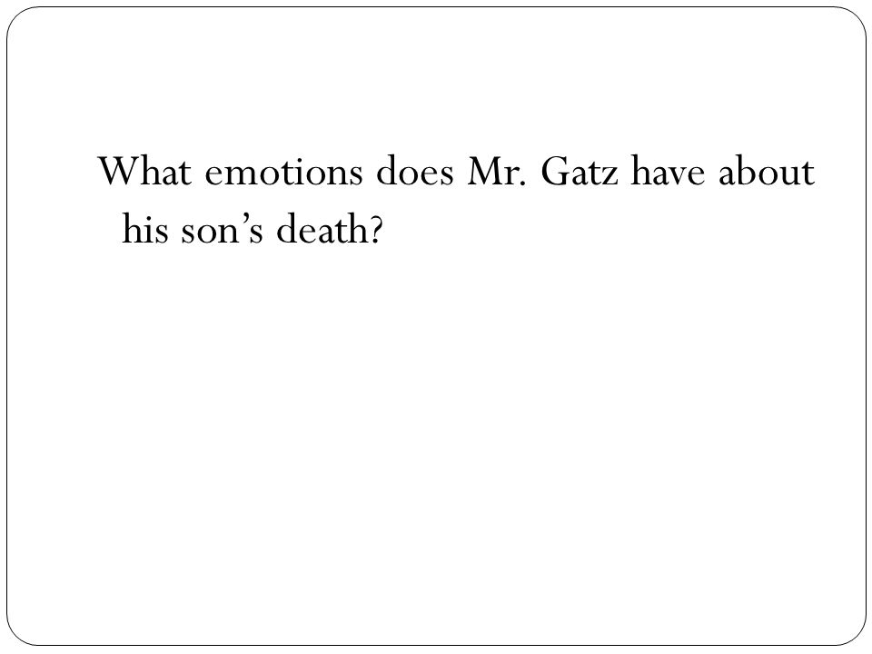 What emotions does Mr. Gatz have about his sons death?