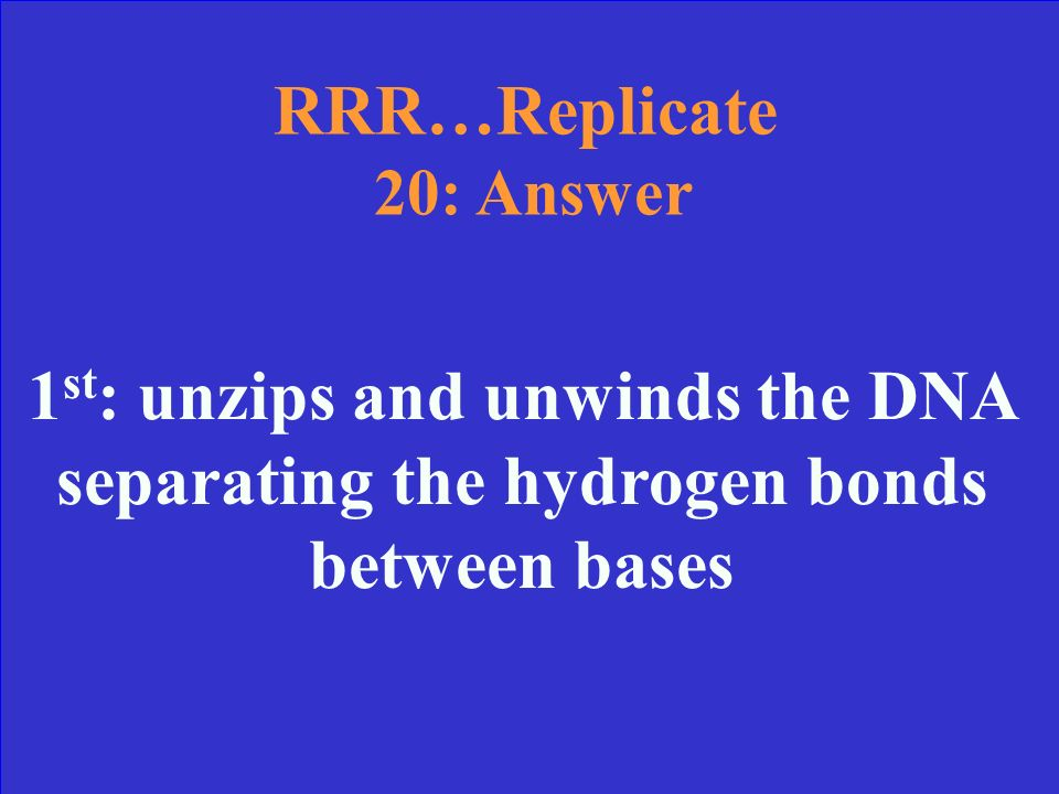 RRR…Replicate 20 Which step is Helicase used in and what does he do