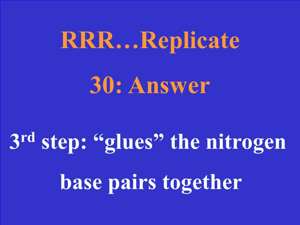 RRR…Replicate 30 During which step do we use Ligase and what does it do