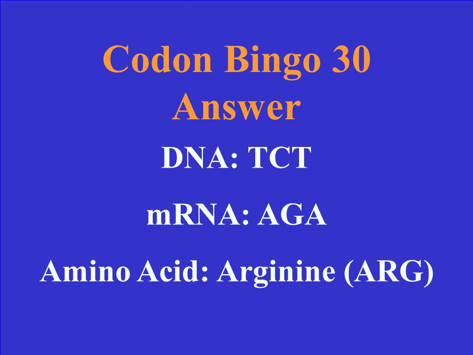 Codon Bingo 30 Find the correct Amino Acid: DNA sequence: TCT