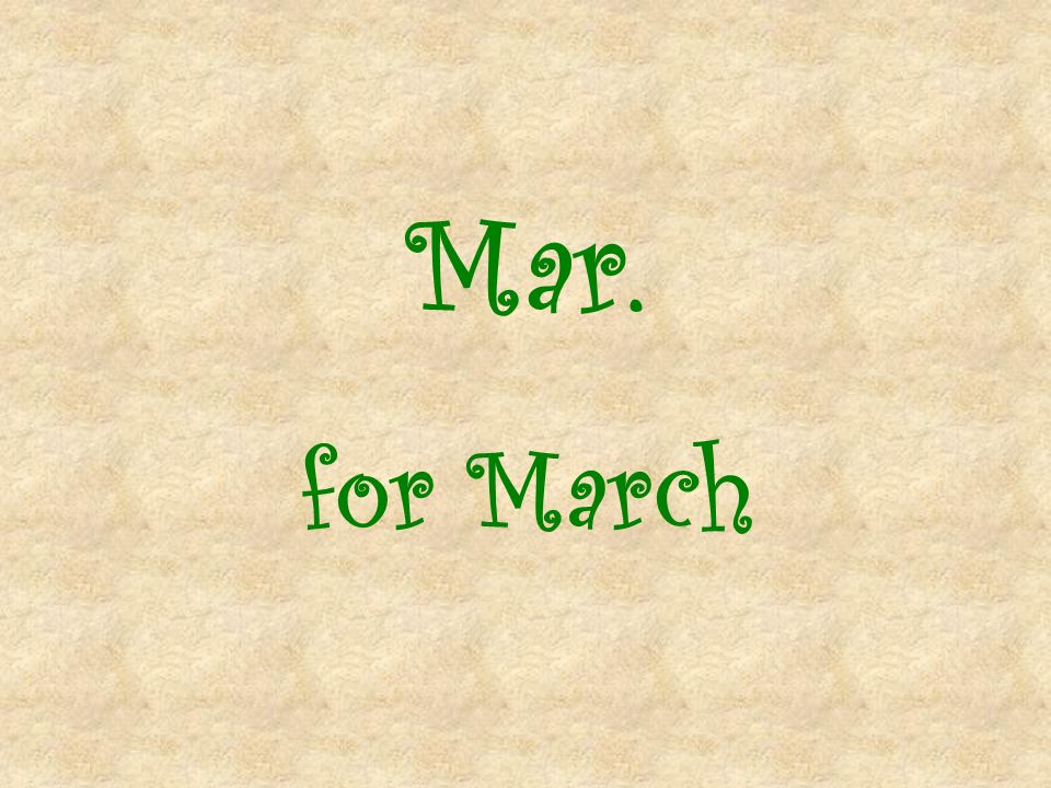 Mar. for March