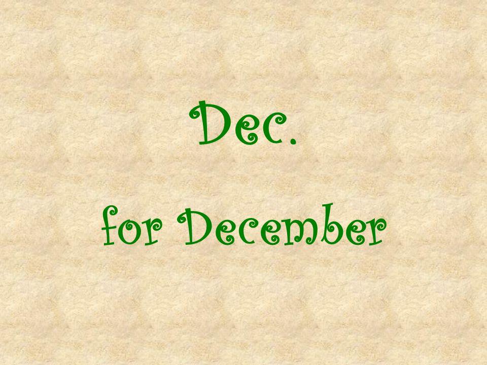 Dec. for December