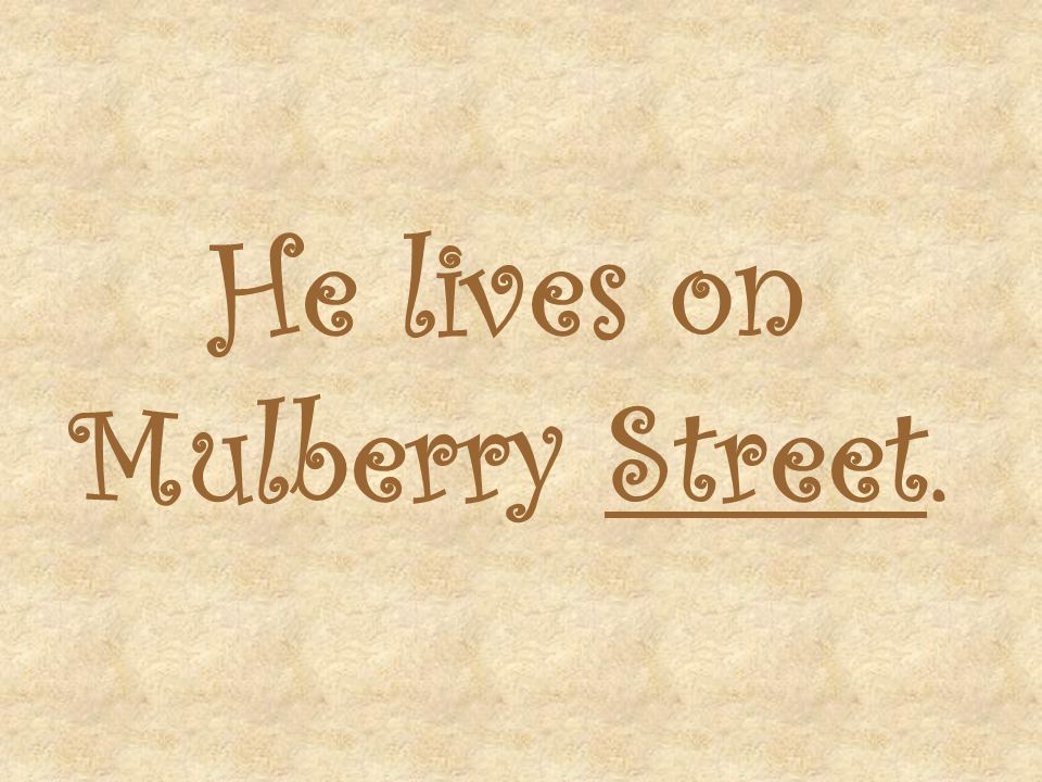 He lives on Mulberry Street.