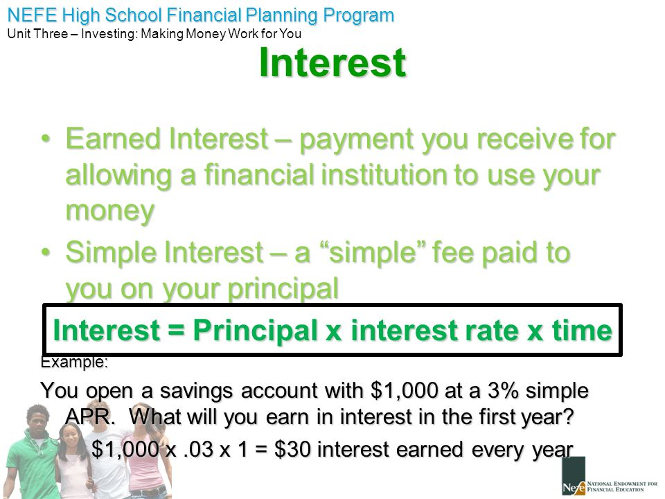 NEFE High School Financial Planning Program Unit Three – Investing: Making Money Work for You Compound Interest ***One of the MOST POWERFUL principals in personal finance.