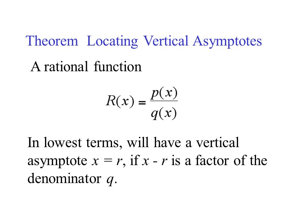 Theorem Locating Vertical Asymptotes A rational function In lowest terms, will have a vertical asymptote x = r, if x - r is a factor of the denominator q.