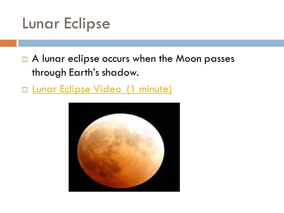 Lunar Eclipse A lunar eclipse occurs when the Moon passes through Earths shadow. Lunar Eclipse Video (1 minute)