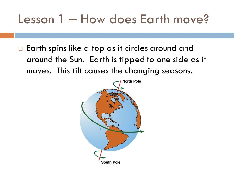 Lesson 1 – How does Earth move? Earth spins like a top as it circles around and around the Sun. Earth is tipped to one side as it moves. This tilt cau