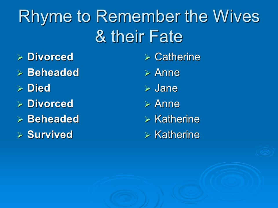 Rhyme to Remember the Wives & their Fate Divorced Divorced Beheaded Beheaded Died Died Divorced Divorced Beheaded Beheaded Survived Survived Catherine