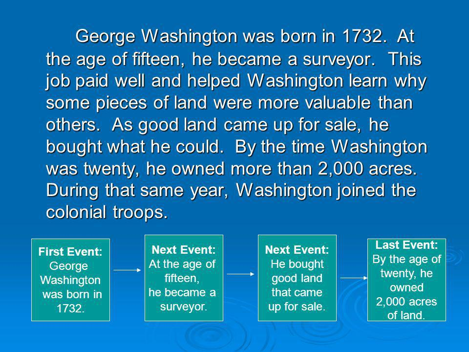George Washington was born in 1732. At the age of fifteen, he became a surveyor.