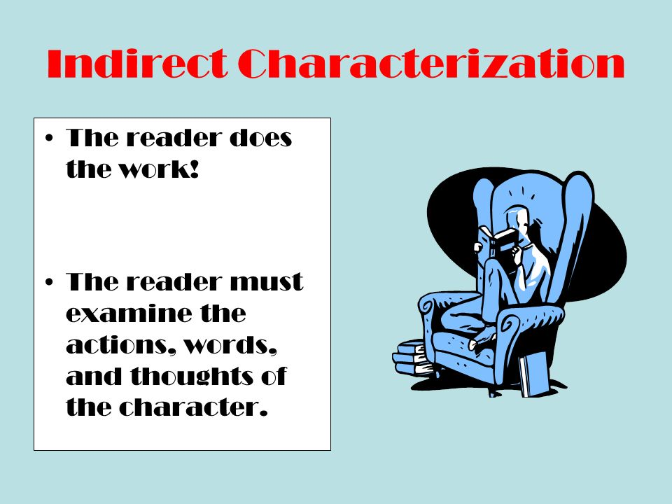 Indirect Characterization Another characters thoughts, words, or feelings about the character.