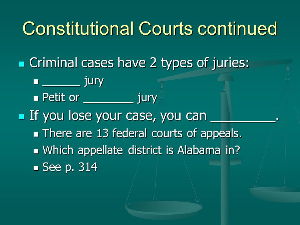 Constitutional Courts continued Criminal cases have 2 types of juries: Criminal cases have 2 types of juries: ______ jury ______ jury Petit or _______