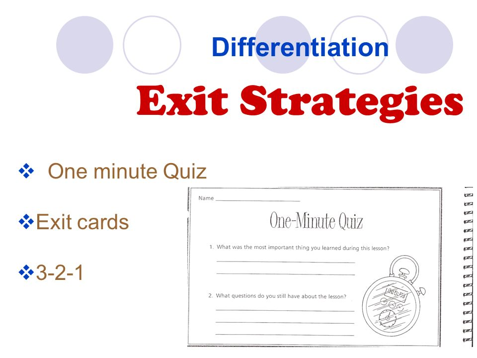 Differentiation Exit Strategies One minute Quiz Exit cards 3-2-1