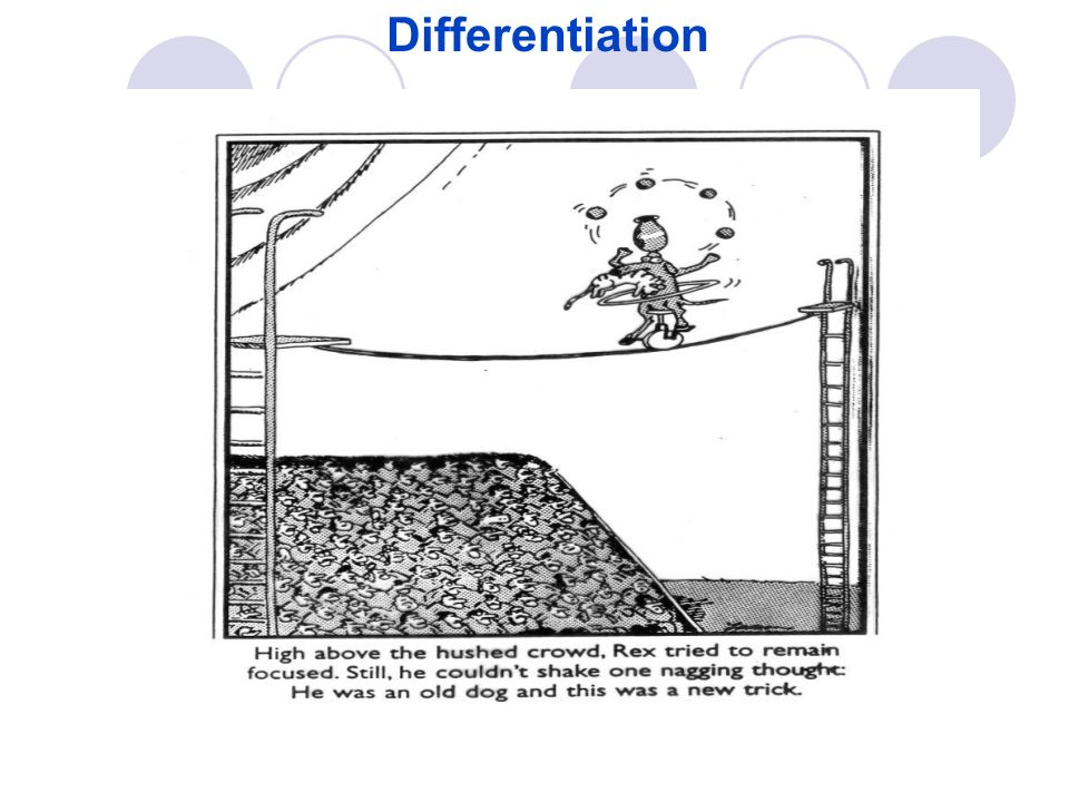 Differentiation Start Slowly, it doesnt matter where you begin as long as you begin!!
