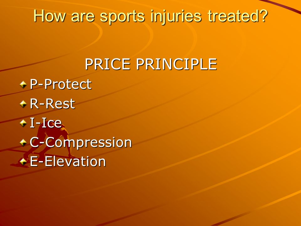 How are sports injuries treated PRICE PRINCIPLE P-ProtectR-RestI-IceC-CompressionE-Elevation