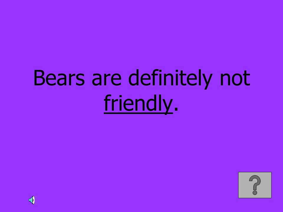 Bears are definitely not friendly.