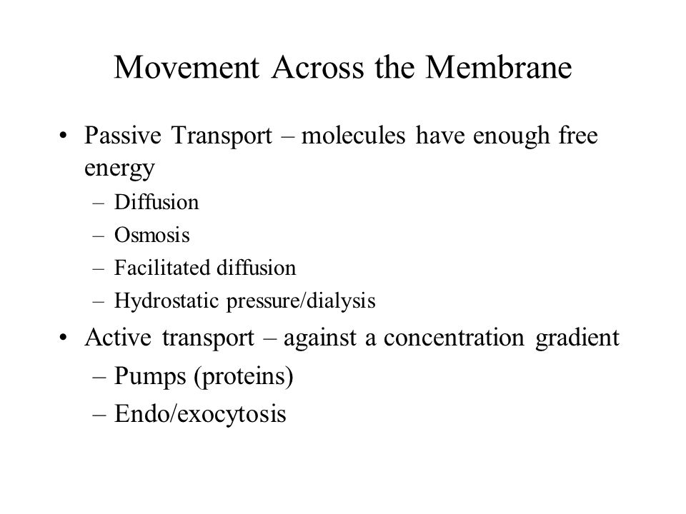Movement Across the Membrane Passive Transport – molecules have enough free energy –Diffusion –Osmosis –Facilitated diffusion –Hydrostatic pressure/di