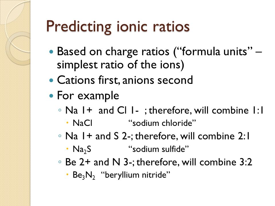 Predicting ionic ratios Based on charge ratios (formula units – simplest ratio of the ions) Cations first, anions second For example Na 1+ and Cl 1- ; therefore, will combine 1:1 NaClsodium chloride Na 1+ and S 2-; therefore, will combine 2:1 Na 2 Ssodium sulfide Be 2+ and N 3-; therefore, will combine 3:2 Be 3 N 2 beryllium nitride