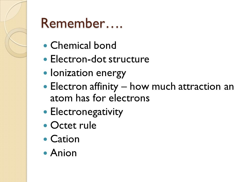 Remember…. Chemical bond Electron-dot structure Ionization energy Electron affinity – how much attraction an atom has for electrons Electronegativity