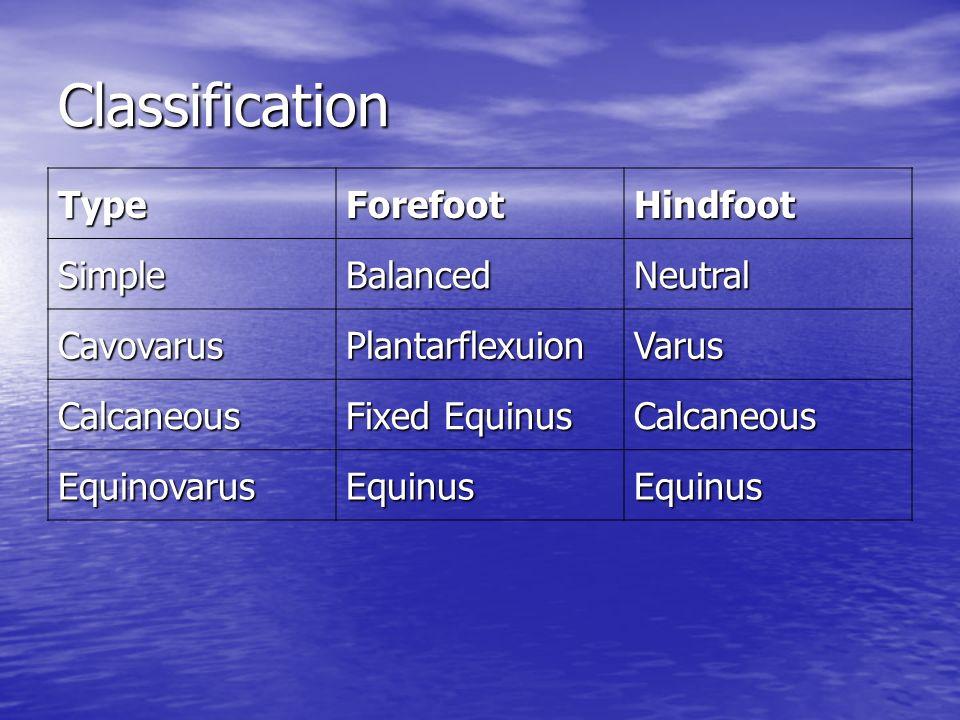 Classification TypeForefootHindfoot SimpleBalancedNeutral CavovarusPlantarflexuionVarus Calcaneous Fixed Equinus Calcaneous EquinovarusEquinusEquinus