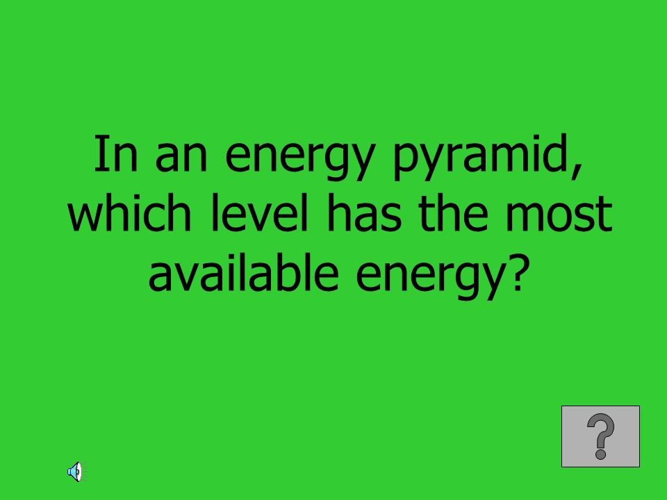 In an energy pyramid, which level has the most available energy?