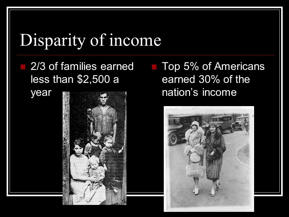 Disparity of income 2/3 of families earned less than $2,500 a year Top 5% of Americans earned 30% of the nations income