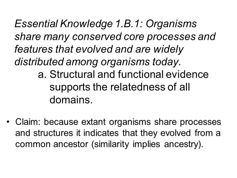 Claim: because extant organisms share processes and structures it indicates that they evolved from a common ancestor (similarity implies ancestry). Es