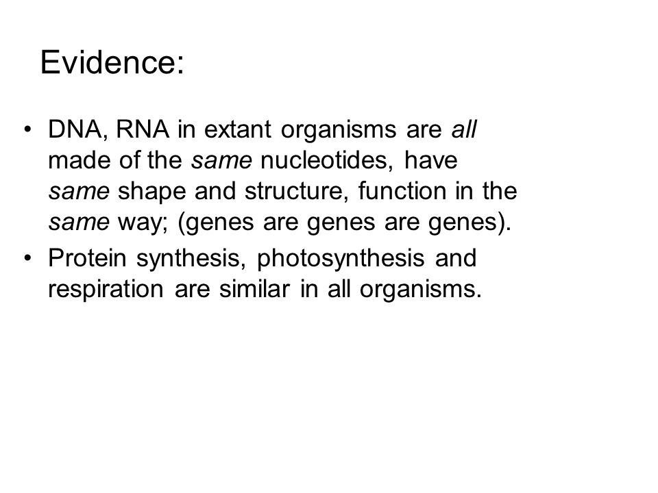 Evidence: DNA, RNA in extant organisms are all made of the same nucleotides, have same shape and structure, function in the same way; (genes are genes