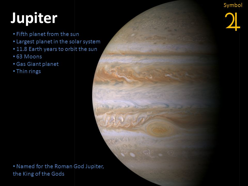 Jupiter Fifth planet from the sun Largest planet in the solar system 11.8 Earth years to orbit the sun 63 Moons Gas Giant planet Thin rings Named for