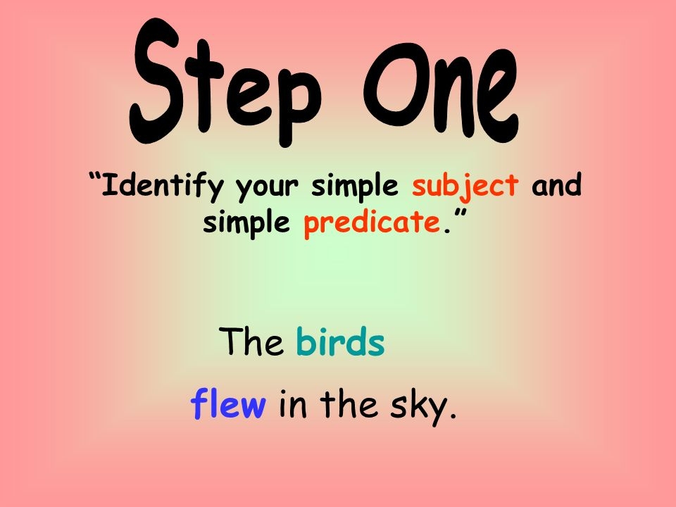 Identify your simple subject and simple predicate. The birds flew in the sky.