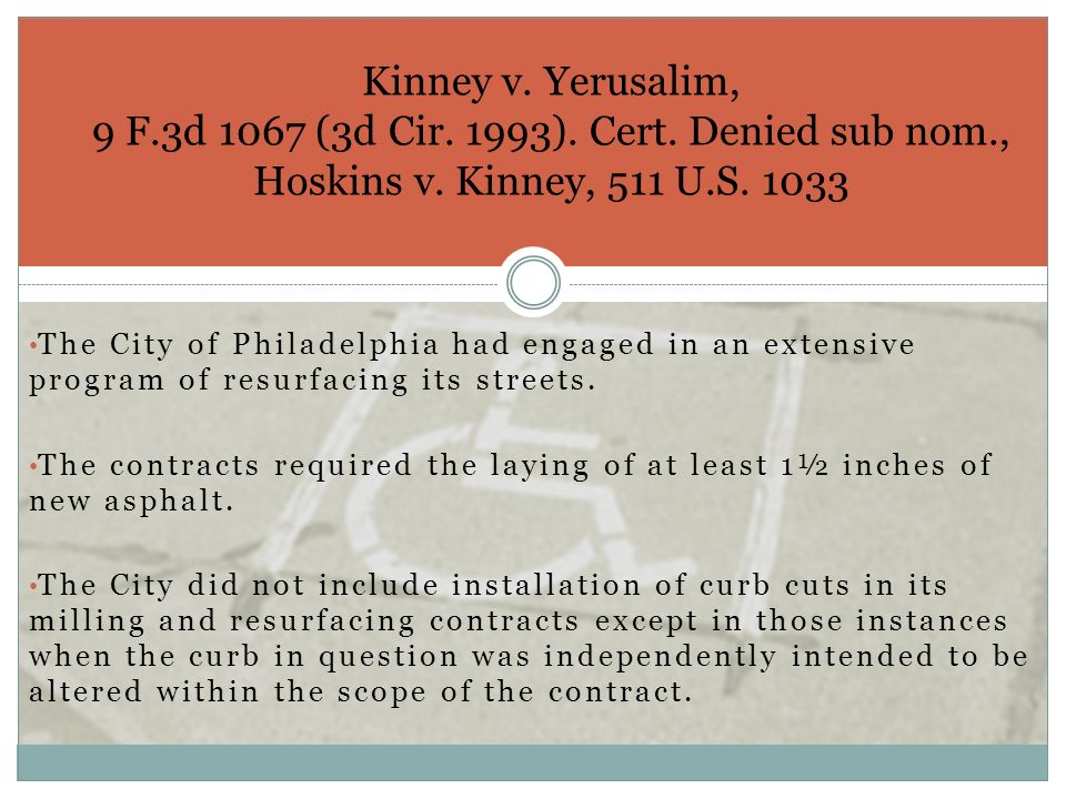 The City of Philadelphia had engaged in an extensive program of resurfacing its streets. The contracts required the laying of at least 1½ inches of ne