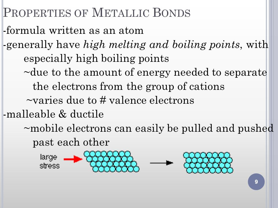 P ROPERTIES OF M ETALLIC B ONDS -formula written as an atom -generally have high melting and boiling points, with especially high boiling points ~due