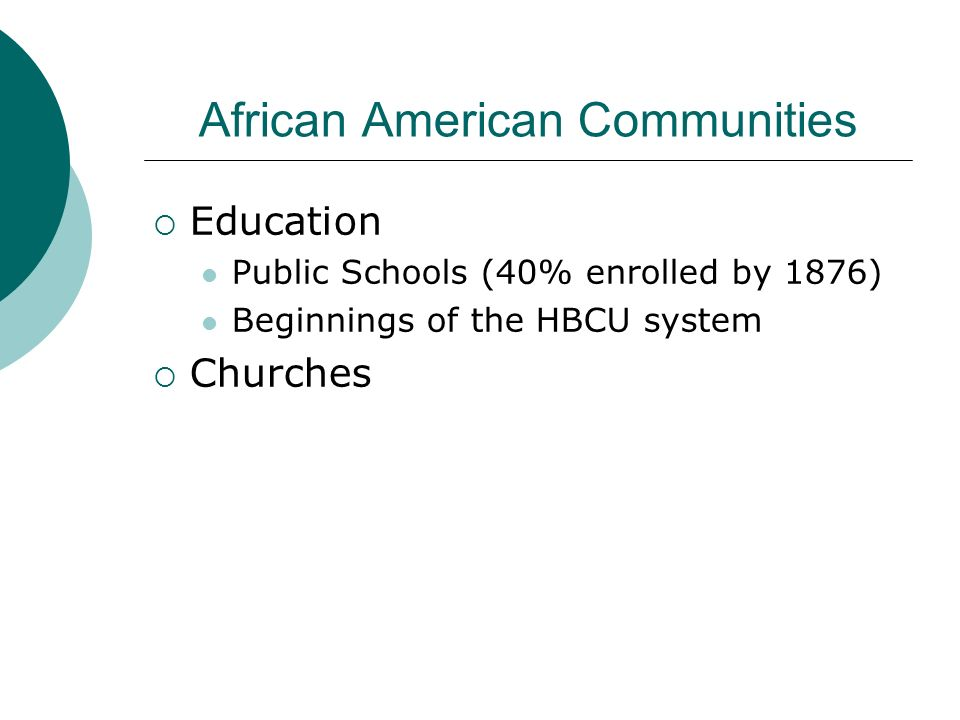 African American Communities Education Public Schools (40% enrolled by 1876) Beginnings of the HBCU system Churches