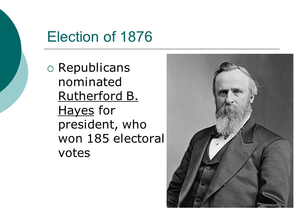 Election of 1876 Republicans nominated Rutherford B. Hayes for president, who won 185 electoral votes