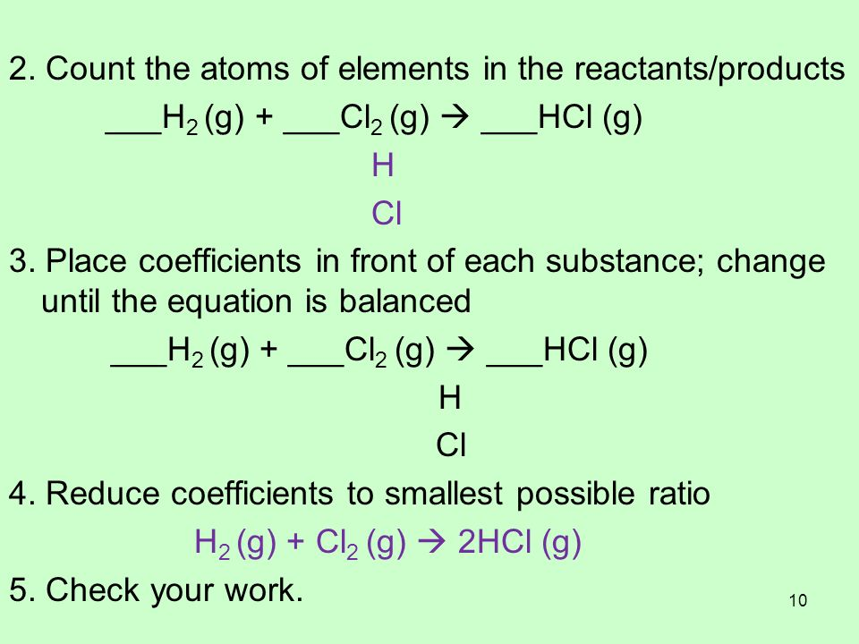 2. Count the atoms of elements in the reactants/products ___H 2 (g) + ___Cl 2 (g) ___HCl (g) H Cl 3. Place coefficients in front of each substance; ch