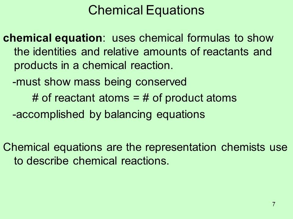 Balancing Chemical Equations coefficient: number written in front of a reactant or product that states the ratio of amounts for each substance -usually a whole number -number 1 is assumed and not written Steps for balancing equations: 1.