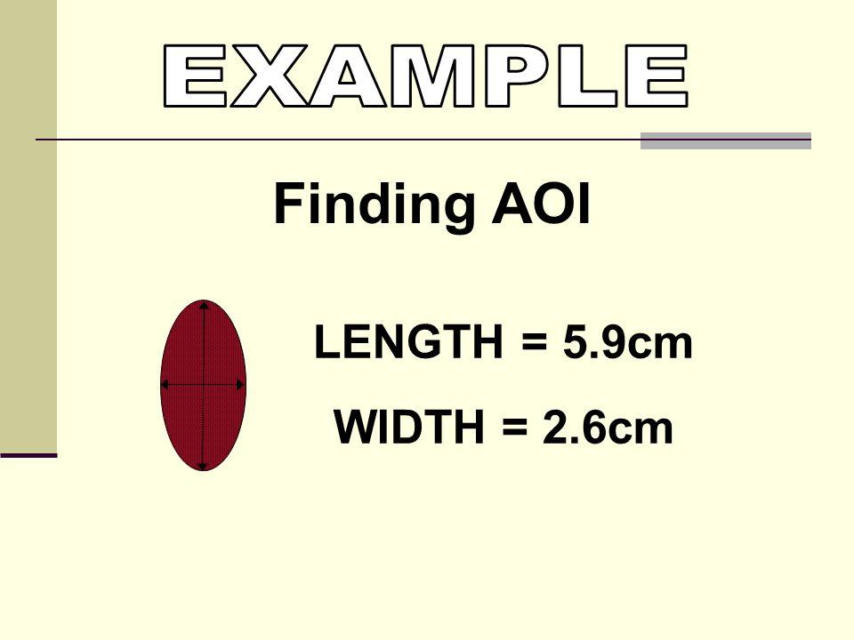 LENGTH = 5.9cm WIDTH = 2.6cm Finding AOI