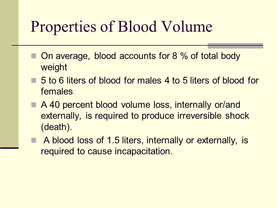 Properties of Blood Volume On average, blood accounts for 8 % of total body weight 5 to 6 liters of blood for males 4 to 5 liters of blood for females