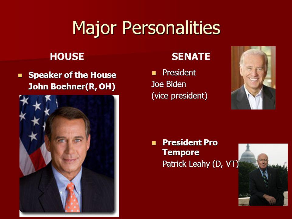 Major Personalities Speaker of the House Speaker of the House John Boehner(R, OH) President President Joe Biden (vice president) President Pro Tempore