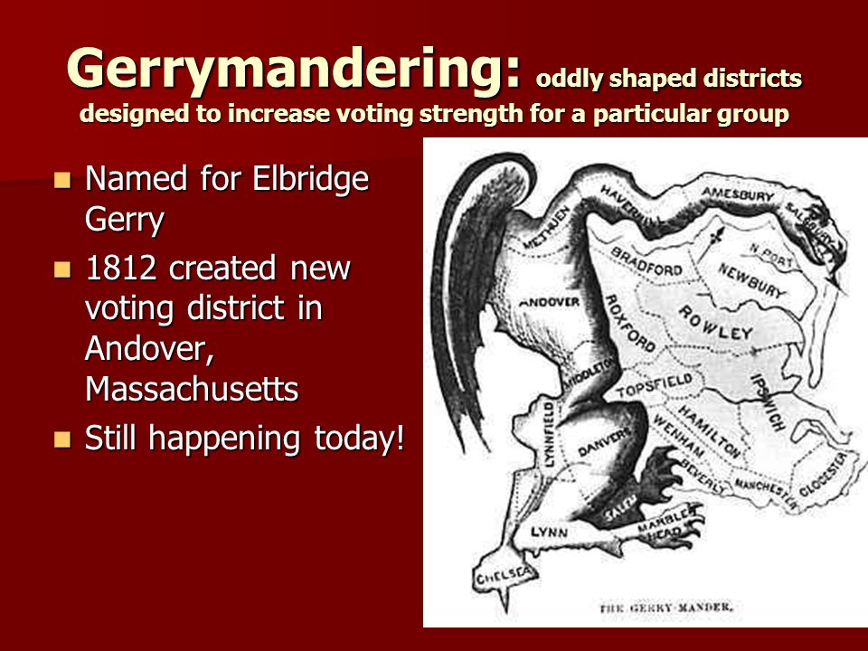 Gerrymandering: oddly shaped districts designed to increase voting strength for a particular group Named for Elbridge Gerry Named for Elbridge Gerry 1812 created new voting district in Andover, Massachusetts 1812 created new voting district in Andover, Massachusetts Still happening today.