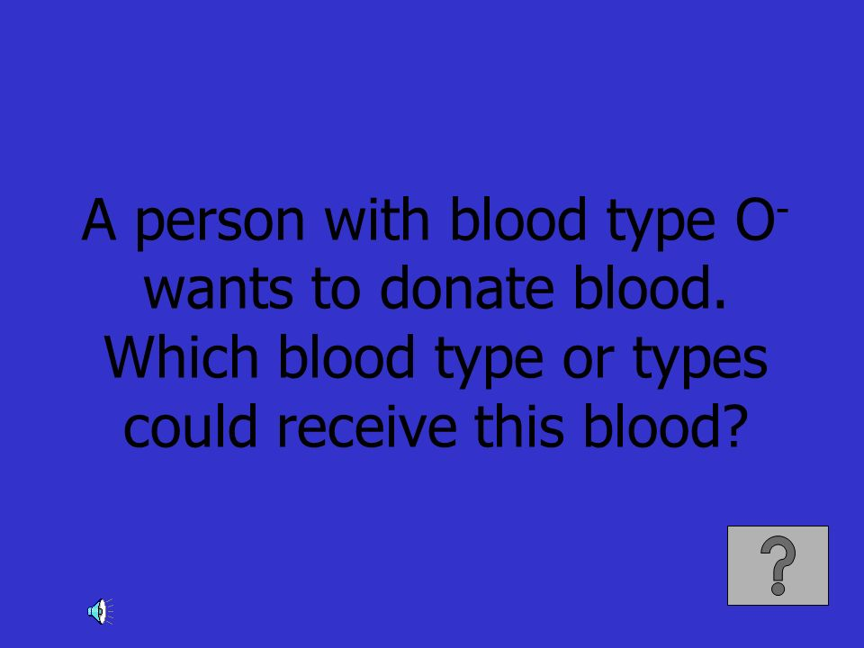 A person with blood type O - wants to donate blood. Which blood type or types could receive this blood?