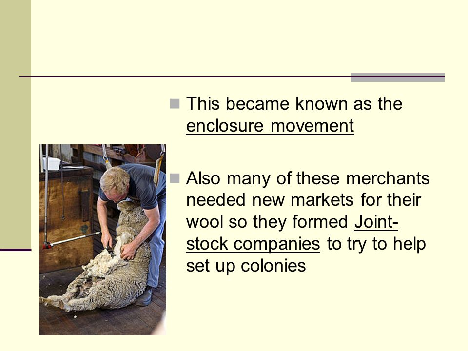 This became known as the enclosure movement Also many of these merchants needed new markets for their wool so they formed Joint- stock companies to tr