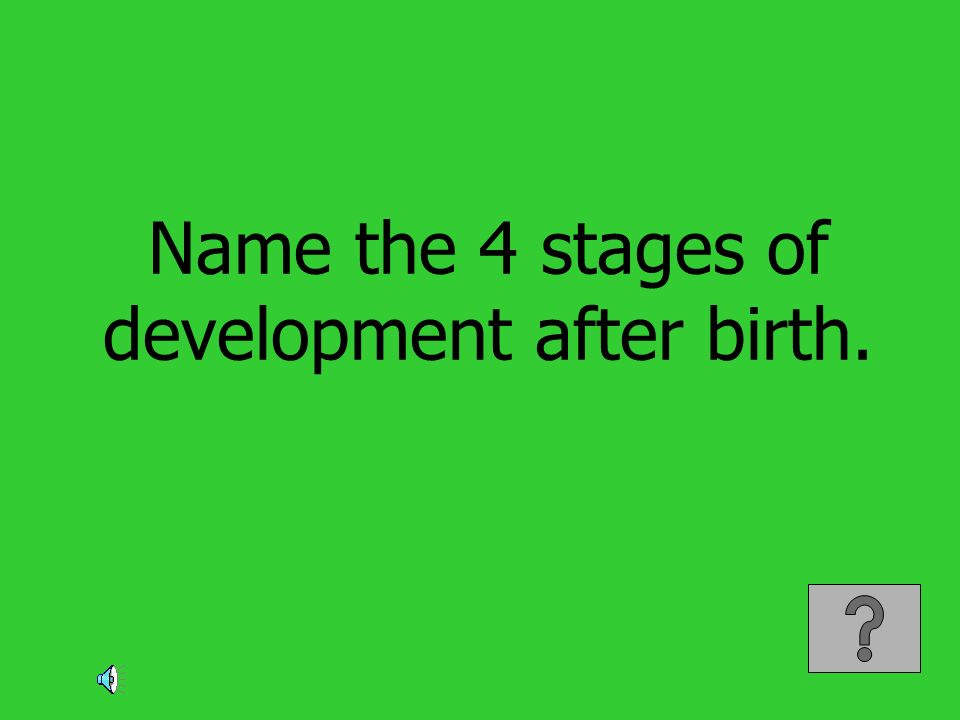 Name the 4 stages of development after birth.