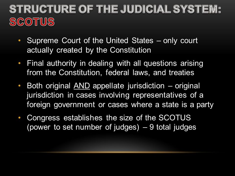 Supreme Court of the United States – only court actually created by the Constitution Final authority in dealing with all questions arising from the Co