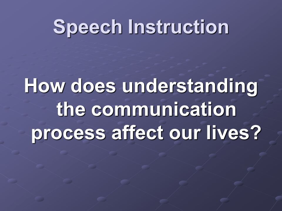 Speech Instruction How does understanding the communication process affect our lives?