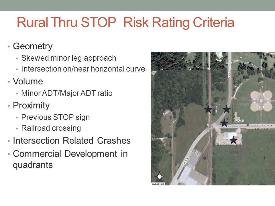 Rural Thru STOP Risk Rating Criteria Geometry Skewed minor leg approach Intersection on/near horizontal curve Volume Minor ADT/Major ADT ratio Proximity Previous STOP sign Railroad crossing Intersection Related Crashes Commercial Development in quadrants