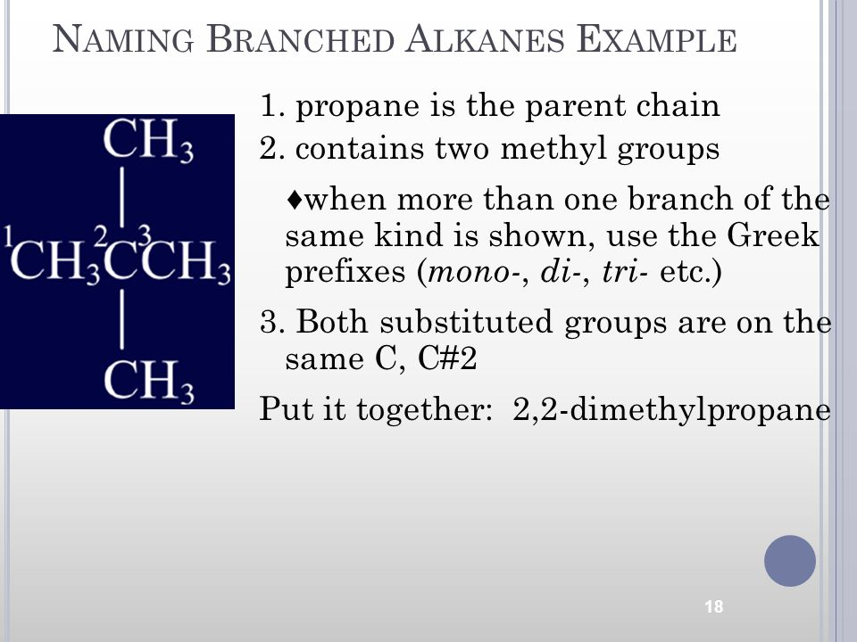 N AMING B RANCHED A LKANES E XAMPLE 1. propane is the parent chain 2. contains two methyl groups when more than one branch of the same kind is shown,