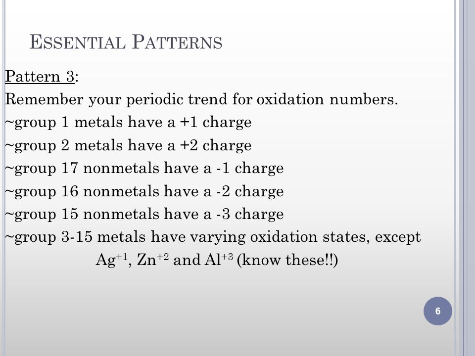 E SSENTIAL P ATTERNS Pattern 3: Remember your periodic trend for oxidation numbers. ~group 1 metals have a +1 charge ~group 2 metals have a +2 charge