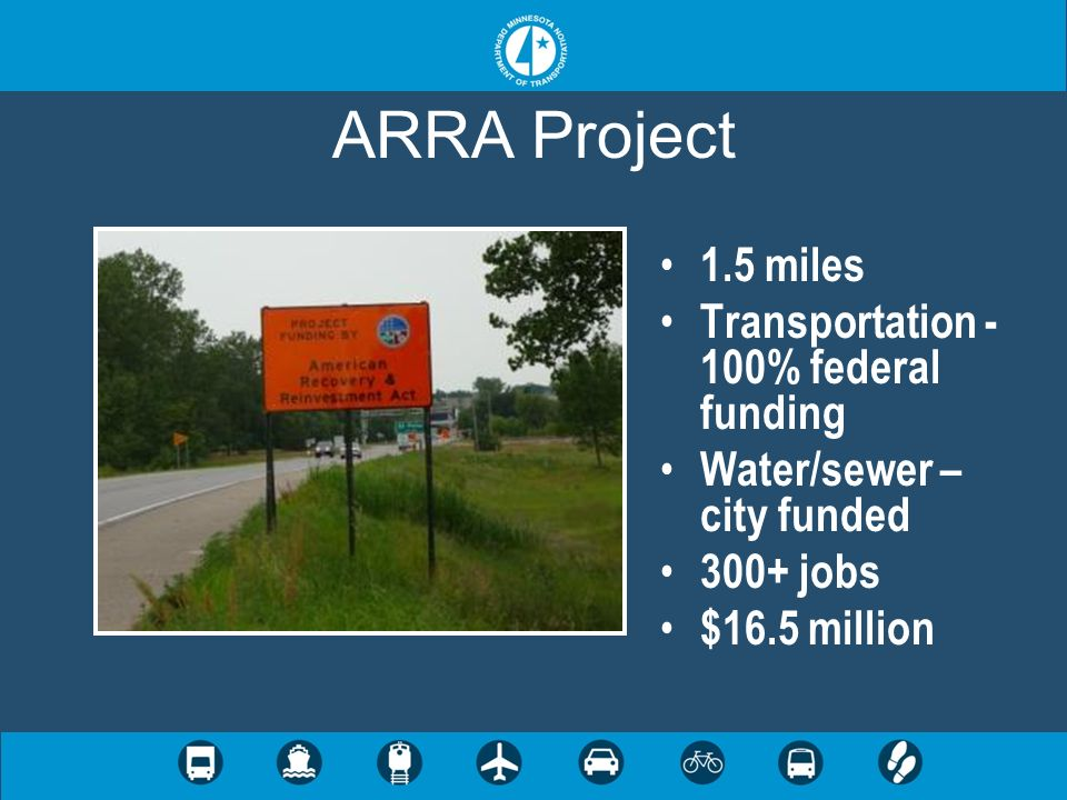 ARRA Project 1.5 miles Transportation - 100% federal funding Water/sewer – city funded 300+ jobs $16.5 million