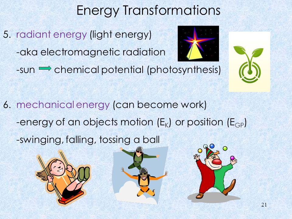 Energy Transformations 5. radiant energy (light energy) -aka electromagnetic radiation -sun chemical potential (photosynthesis) 6. mechanical energy (
